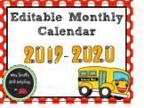 2019-2020 Editable Monthly Calendar- Ladybug Themed