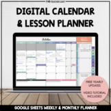 Editable Monthly Calendar + Weekly Lesson Planner   Google Drive (Sheets)
