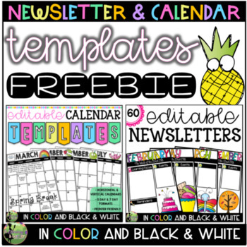 Editable Monthly Calendar & Weekly Newsletter Templates FREEBIE