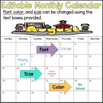 Editable Monthly Calendar for the 2016-2017 and 2017 and 2018 school year