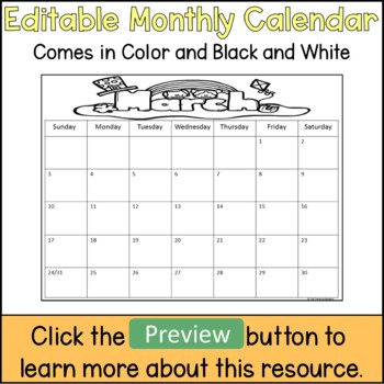 Editable Monthly Calendar Template By The Traveling Educator Tpt