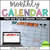 Monthly Calendar Editable Template (2018-2020)