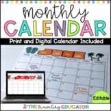 Editable Monthly Calendar Template