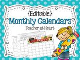 {Editable} Monthly Calendars 2017-2018