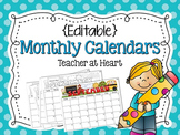 {Editable} Monthly Calendars 2018-2019