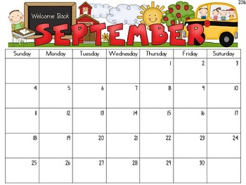 {Editable} Monthly Calendars 2018-2019 by Teacher at Heart ...