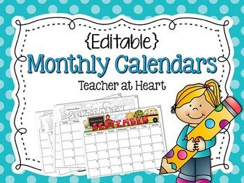 {Editable} Monthly Calendars 2019-2020 by Teacher at Heart ...