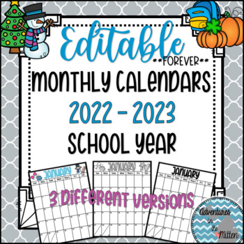 Forever Editable Monthly Calendars 2017-2018