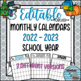 Forever Editable Monthly Calendars 2018-2019