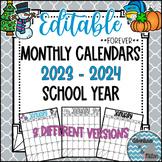 Forever Editable Monthly Calendars 2019-2020