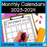 Editable Monthly Calendars 2018-2019 ~ Black & White