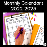 Editable Monthly Calendars 2019-2020 ~ Black & White ~ FREE UPDATES