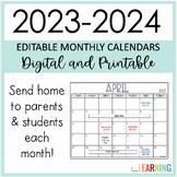 Editable Calendar 2021-2022: Printable and Digital