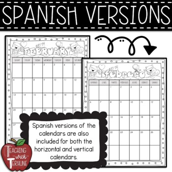 Editable Monthly Calendars {Black and White}