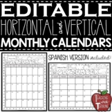 EDITABLE Monthly Calendars 2018-2019 and 2019-2020 {Black and White}