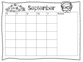 Editable Monthly Calendars