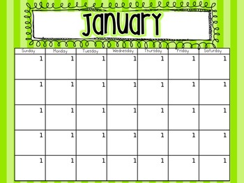 Editable Monthly Calendars {Bright Polka Dots and Stripes}