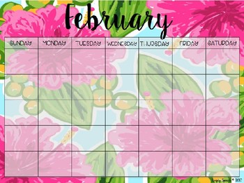 Editable Monthly Calendars- Lilly Inspired!