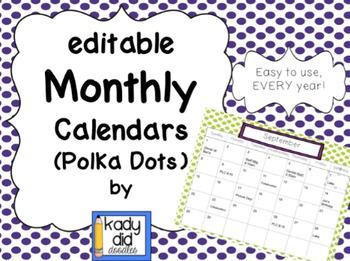 Editable Monthly Calendars (Polka Dots)