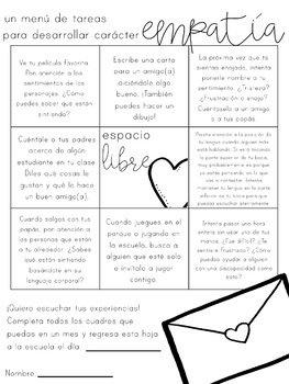 Editable Monthly Character Education Homework Menus - SPANISH VERSION
