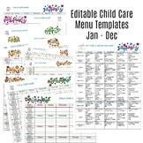 Editable Monthly Child Care Menu Templates Jan-Dec