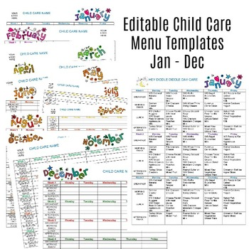 Editable Monthly Child Care Menu Templates Jan-Dec by Share and Remember