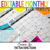 Editable Monthly Class Calendars