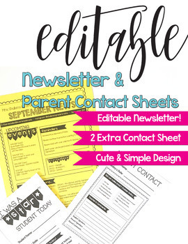 Editable Monthly & Weekly Class Newsletter - Simple Cute Banner- Note to Parents