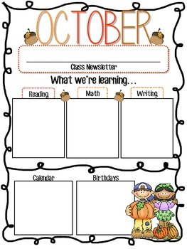 Editable Monthly Classroom Newletters