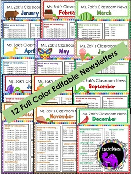 Editable Monthly Classroom Newsletter - Eric Carle inspired theme