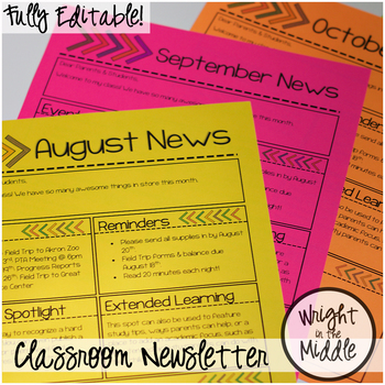 Editable Monthly Classroom Newsletter Template