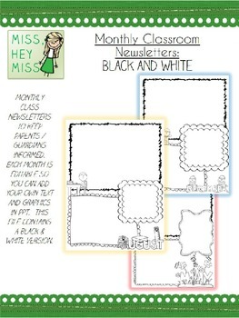 Editable Monthly Classroom Newsletter Template: B&W