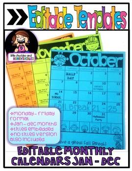 Editable Monthly Clip Chart Calendars