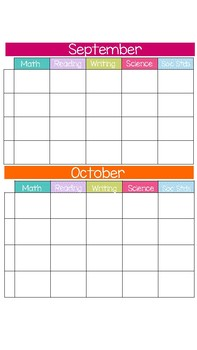 Editable Monthly Curriculum Planning