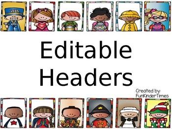 Editable Monthly Headers