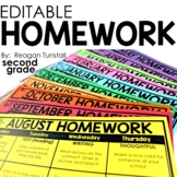 Editable Monthly Homework 2nd grade