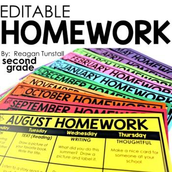 Editable Monthly Homework 2nd grade