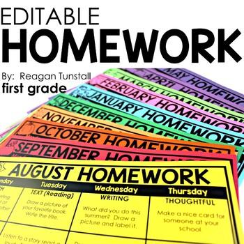 Editable Monthly Homework