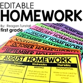 Editable Homework First Grade
