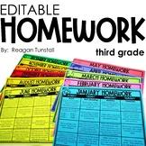 Editable Monthly Homework 3rd grade