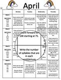 Editable Monthly Homework (April)