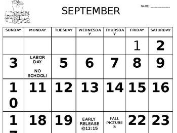Editable Monthly Homework Calendar