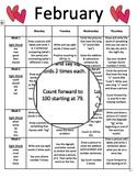 Editable Monthly Homework (February)