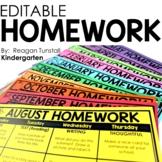 Editable Monthly Homework Kindergarten