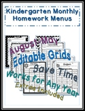 Editable Monthly Homework Menus - Microsoft Publisher File - PreK, KG, 1st-4th