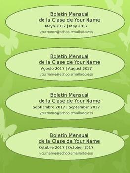 Free Editable Classroom Newsletter - Spanish