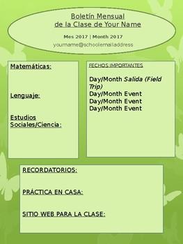 Editable Monthly Newsletter - Spanish