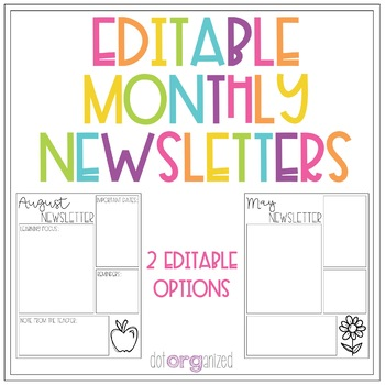 Editable Monthly Newsletter Template by dotorganized | TpT