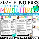 Editable Classroom Newsletter Templates   Print or Digital
