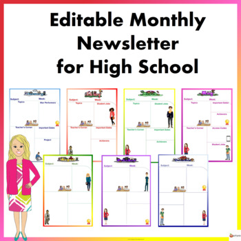 Editable Monthly Newsletter Templates for High School